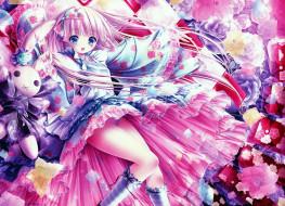 обои для рабочего стола 3500x2538 аниме, unknown,  другое, девушка, арт, tinkle, розы, взгляд, цветы
