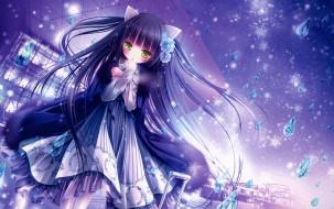 аниме, unknown,  другое, снежинки, девушка, арт, tinkle, кристаллы, капли
