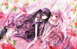 аниме, unknown,  другое, жидкость, девушки, арт, tinkle, розы, капли, взгляд