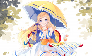 обои для рабочего стола 2000x1212 аниме, unknown,  другое, зонт, девушка, бусы, книга, улыбка