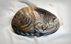 камень, ткань, рисунок, кот