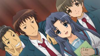 обои для рабочего стола 1920x1080 аниме, the melancholy of haruhi suzumiya, asakura, ryouko, девушка, парни, kunikida, kyon, taniguchi