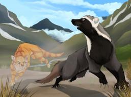 рисованное, животные, звери