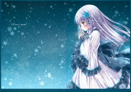 аниме, tinkle , artbook, платье, снежинки, девушка, арт, tinkle