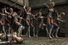 3д графика, фантазия , fantasy, взгляд, девушки, оружие, фон