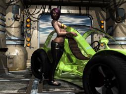 3д графика, фантазия , fantasy, автомобиль, фон, взгляд, девушка