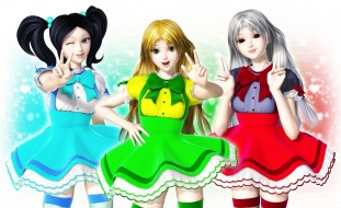 3д графика, аниме , anime, девушки, жест, фон, взгляд