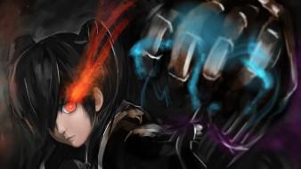 аниме, black rock shooter, арт, aki99, kuroi, mato, black, rock, shooter, девушка, взгляд, рука