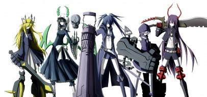 аниме, black rock shooter, kuwachii, персонажи, takanashi, yomi, kuroi, mato, koutari, yuu, izuriha, kagari, irino, saya, девушки, chariot, black, rock, shooter