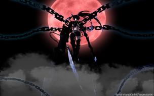 аниме, black rock shooter, insane, black, rock, shooter, красная, луна, цепи, девушка, kuroi, mato