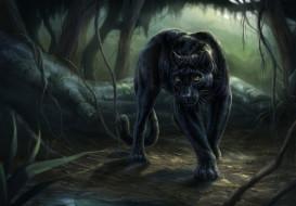 рисованное, животные, лес, взгляд, пантера