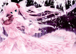 аниме, tinkle , artbook, веер, розы, платье, волосы, девушка, арт, tinkle