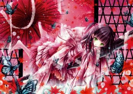 аниме, tinkle , artbook, tinkle, бабочки, зонт, платье, взгляд, девушка, арт