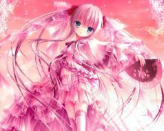 аниме, tinkle , artbook, взгляд, розы, бабочки, веер, платье, девушка, tinkle