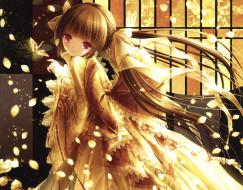 аниме, tinkle , artbook, бант, взгляд, платье, девушка, арт, лепестки, tinkle
