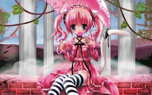аниме, tinkerbell , artbook, арт, девушка, волосы, платье, ушки, зонт