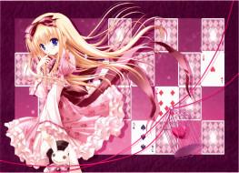 аниме, tinkerbell , artbook, tinkle, арт, девушка, волосы, платье, карты