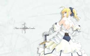 обои для рабочего стола 1920x1200 аниме, fate, stay night, меч, девушка, saber, lily