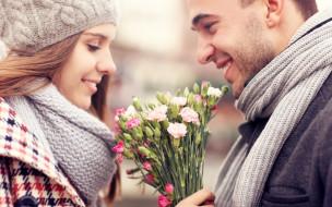 разное, мужчина женщина, парень, цветы, улыбки, девушка, пара