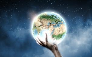 разное, компьютерный дизайн, рука, планета, земля, звёзды, креатив