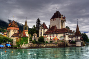 castillo de oberhofen швейцария, города, замки швейцарии, пейзаж, побережье, река, замок
