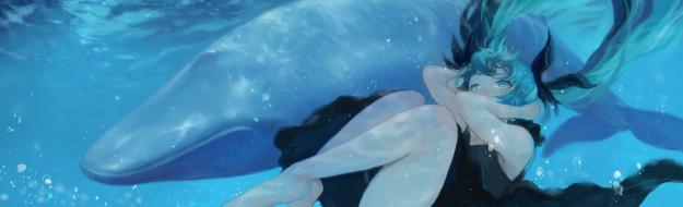 обои для рабочего стола 4495x1368 аниме, vocaloid, кит, море, арт, вокалоид, девушка, hatsune, miku