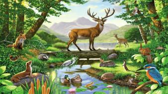 рисованное, животные, рисунок, картина, лес, олень, птицы
