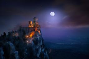 города, сан-марино , сан-марино, гора, монте-титано, свет, ночь, гуаита, башня, крепость, луна