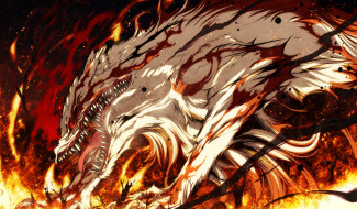 аниме, kajiri kamui kagura, искры, пепел, животное, волк, ярость, зверь, деревья, огонь, g, yuusuke, клыки