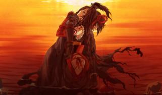 аниме, kajiri kamui kagura, кимоно, закат, вода, g, yuusuke, доспехи, камни, девушка, мужчина, кровь, свет