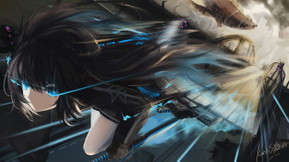 аниме, black rock shooter, black, rock, shooter, kuroi, mato, движение, скорость, asahi, арт, девушка