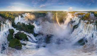 обои для рабочего стола 2048x1184 природа, водопады, бразилия, южная, америка, аргентина, радуги, игуасу