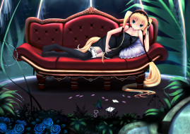 аниме, seikon no qwaser, ekaterina, kurae, диван, пеньюар, чепец, комната, оранжерея, растения, цветы, розы, бабочка, игральные, карты, подушка, чулки