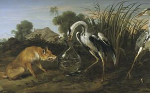 рисованное, животные, журавль, живопись, золотой, век, сказка, лиса