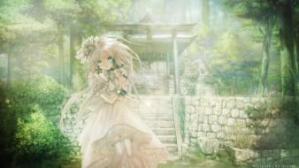 аниме, monobeno, cura, платье, девушка, деревья, mizusawa, hikaru, арт, природа
