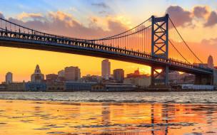города, - мосты, мост, река, делавэр, пенсильвания, delaware, river, benjamin, franklin, bridge, pennsylvania, филадельфия, philadelphia, панорама, бенджамина, франклина