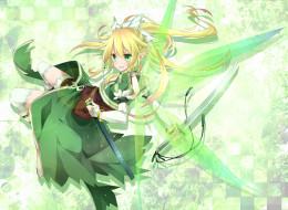 аниме, sword art online, sword, art, online, toutenkou, эльф, девушка, leafa