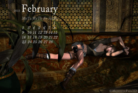 календари, 3д-графика, девушка, фон, диван