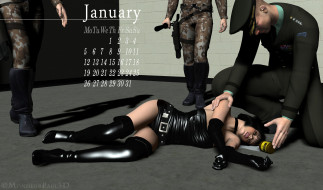 календари, 3д-графика, девушка, лежит