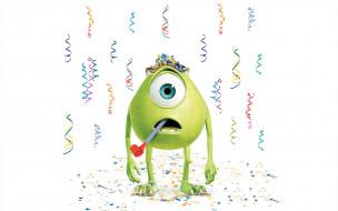 мультфильмы, monsters inc, зеленый, праздник, inc, monsters, корпорация, монстров, конфетти, одноглазый, белый, фон