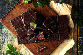 еда, конфеты,  шоколад,  сладости, мята, плитка, горький, шоколад