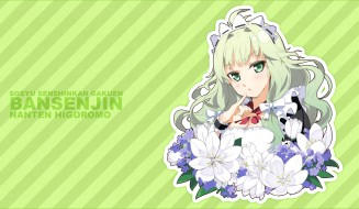 аниме, sousyu sensinkan-gakuen hachimyoujin, sousyu, sensinkan-gakuen, bansenjin, зелёный, полоски, фон, higoromo, nanten, g-yuusuke, портрет, девушка, цветы