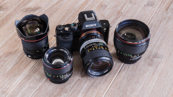 бренды, sony, объективы, камера, сони, столешница, фотоаппарат
