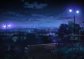 обои для рабочего стола 2522x1781 аниме, город,  улицы,  здания, скамья, лавочка, ночь, огни, фонари, деревья, небо, облака, арт, monorisu