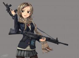 обои для рабочего стола 2500x1846 аниме, оружие,  техника,  технологии, фон, dreadtie, шарф, девушка, арт