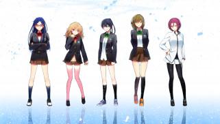 аниме, free, девушки, арт, hakusai, tachibana, makoto, matsuoka, rin, nanase, haruka, hazuki, nagisa, ryugazaki, rei