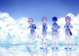 обои для рабочего стола 3507x2479 аниме, free, арт, ryugazaki, rei, hazuki, nagisa, matsuoka, rin, nanase, haruka, мальчики, небо, вода, bunuojiang