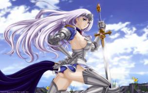 обои для рабочего стола 2560x1600 аниме, queen`s blade, диадема, броня, цветы, небо, облака, оружие, меч, воин, доспехи, девушка, annelotte, cilou