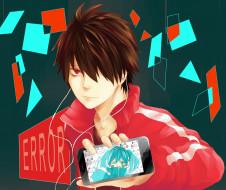 аниме, kagerou project, парень, телефон, наушники, арт