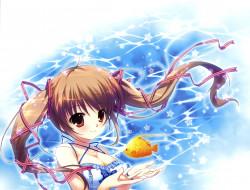 аниме, mikeou , artbook, mikeou, арт, девочка, взгляд, рыбка, звёздочки, вода